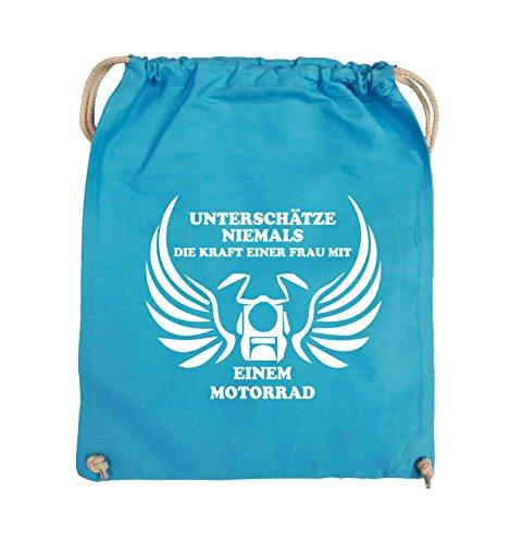 Comedy Bags - UNTERSCHÄTZE NIEMALS FRAU MIT MOTORRAD - Turnbeutel - 37x46cm - Farbe: Schwarz / Pink Hellblau / Weiss