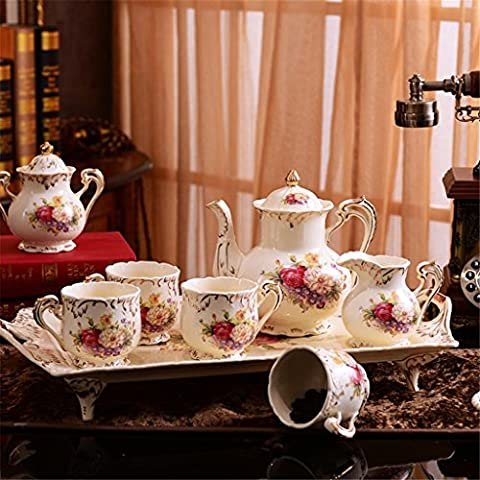 Table basse de style européen Ensemble de tasses à café Ensemble à thé café Céramique Définit Ensemble de thé Ensemble à thé avec plateau