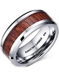 Mens KOA Wood Inlay Tungsten Carbide Wedding Engagement Band Ring