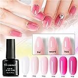 vrenmol Gel Nagellack Set–6Farben Soak-off-UV-LED Kristall Pink Serie Nail Art Manicure Gel Polish Kit 8ml