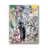 mmzki Street Art Leinwand Charlie Chaplin Ölgemälde Moderne Wand Kunstdruck Wohnzimmer