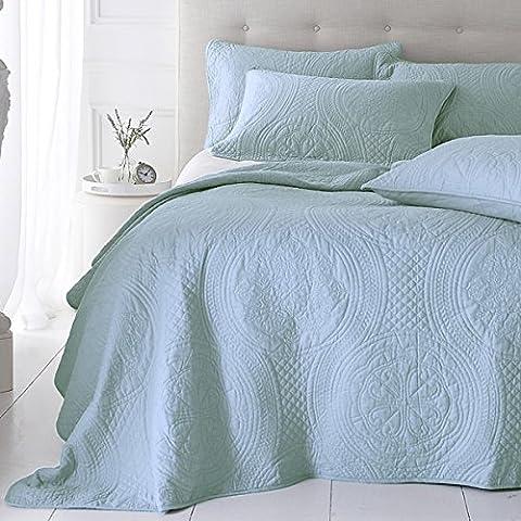 Sashi Bed Linen - Couvre-lit matelassé Richmond - coton - broderie - bleu dragée - 250 x 190 cm