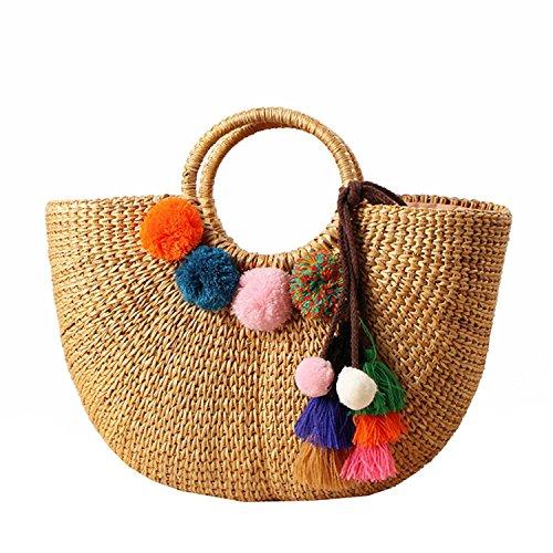 WOVELOT Damen Vintage Stroh geflochten Handtaschen Casual Strand Urlaub grosse Tragetaschen mit runden Griff Ring (Haarball) -