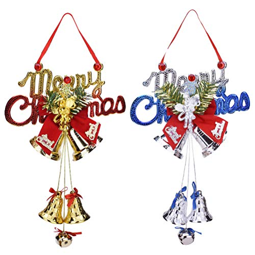 TOYMYTOY 2 Stück Weihnachten Glocken Anhänger Merry Christmas Weihnachtsanhänger Christbaumschmuck Baumschmuck Glöckchen Türhänger Dekoschild Türschild Weihnachtsdeko zum Aufhängen
