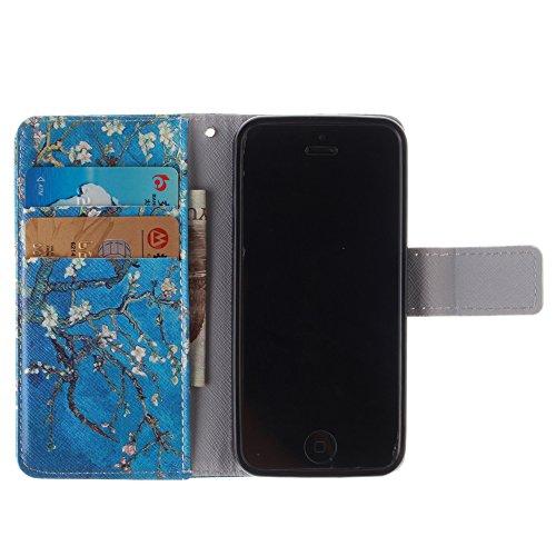 MCHSHOP(TM) verschiedene Muster Book-Style Handgemachtes Schutzhülle PU Leder Tasche Flip Wallet Ledertasche Hülle für Iphone 5 5S Kartenfächern & Standfunktion - 1 Touch pen Frei (Vans von der wand ( mandel blumen baum mit blauem hintergrund (almond flow