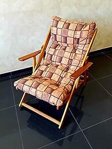Fauteuil relax pliable en bois avec coussin rembourré – Intérieur, extérieur et jardin – Hauteur : 100 cm – Marron