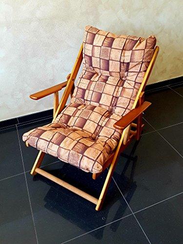 Poltrona sedia sdraio relax (marrone) in legno pieghevole cuscino imbottito h 100 cm da interni esterni e giardino