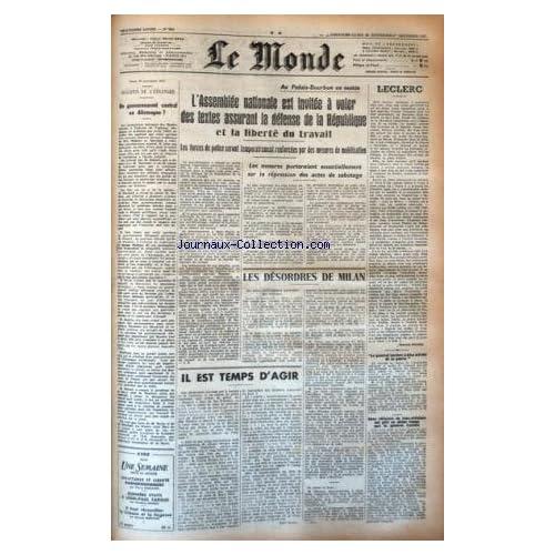 MONDE (LE) [No 884] du 30/11/1947 - UN GOUVERNEMENT CENTRAL EN ALLEMAGNE - LES CONFLITS SOCIAUX - LES DESORDRES DE MILAN -