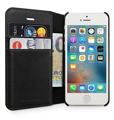 Kamera Tasche Geldbörse (WIIUKA Echt Ledertasche -TRAVEL Away- für Apple iPhone 5 / 5S / SE mit DREI Kartenfächern, extra Dünn Tasche Schwarz Premium Design Leder Hülle)