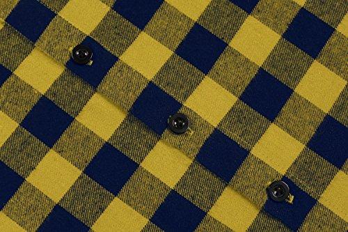 Coofandy Herren Hemd Langarm Kariert Freizeit Hemd Baumwolle Button-Down 24-Gelb
