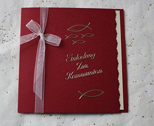 5 Einladungskarten zur Kommunion Einladung incl. Umschlag bordeaux Schriftzug gold*Handarbeit*