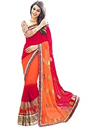 G Stuff Fashion Women Georgette saree With Blouse Piece_saree_Orange_red_saree