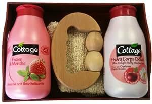 Cottage Coffret Bois 1 Douche Lait Revitalisante Fraise et Menthe 250 ml + 1 Hydra Corps Délice Fleur de Cerisier 250 ml + 1 Masseur + 1 Gant Exfoliant