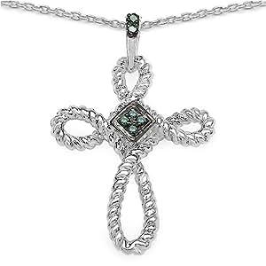 Bijoux Schmidt-Collier / pendentif croix avec 6 rare diamant bleu