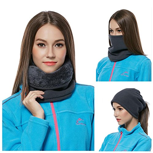 IKuaFly Scaldacollo in Pile Funzioni Multiple Beanie Mask Cervicale Warmies Antivento- Invernale Bici Moto Ciclismo Snowboard Sci Running Thermico Neck Warmer (nero)