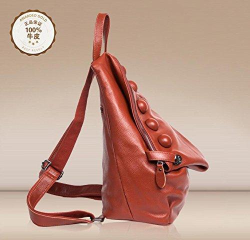 Leder Handtasche Handtasche Rucksack aus Leder Rucksack Brown