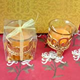Candle In A Glass With Decorative Plastic Stand (Golden, Pack Of 2)