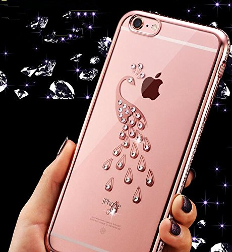 6S iPhone-Custodia per iPhone 6, motivo: delfini MASUMARK, motivo floreale con strass, colore: trasparente, in gomma, motivo: diamanti, colore: oro placcato Electroplate cornice paraurti in Silicone T Peacock 4.7 - Rose Gold
