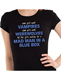 Getting Shirty This Girl's Waiting For A Mad Man In A Blue Box (Inspired by Doctor Who) Womens T-Shirt