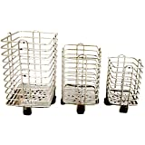 Prisha India Craft Stainless Steel Spoon Stand/Cutlery Holder Stand 3 Pc Combo Set (Square)