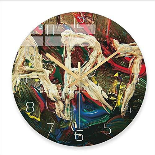 WENB Abstrakte Malerei Nordischen Stil Kunst Design Wanduhren Stille Nicht Ticken Vintage Wanddekoration 30 cm Für Schlafzimmer Wohnzimmer Küche Büro @ B