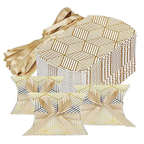 HSEAMALL Kissen-Form-Hochzeits-Geschenkboxen, Party-Geschenk-Box, Süßigkeiten-Box, 50 Stück Gold Stripe