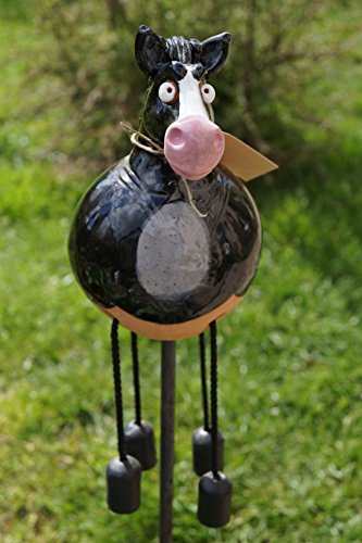 TB Keramik Pferd Schwarz Gartenkeramik Beet Topfstecker Dekoration Handarbeit