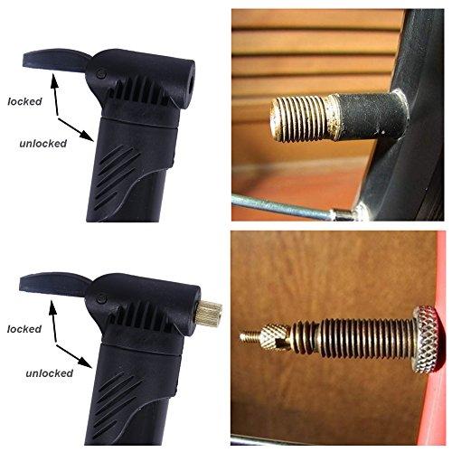 Kottle Mini Fahrrad Pumpe tragbaren Rahmen mit Rahmen montieren und Ball Nadel, kompatibel mit Presta und Schrader-Ventil, Straße & Mountainbike-Reifen-Pumpe Schwarz