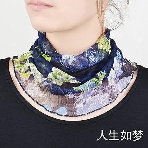 Upper-scarf Écharpe femme Soleil d'été mince Collier en soie d'impression, Sky blue A2