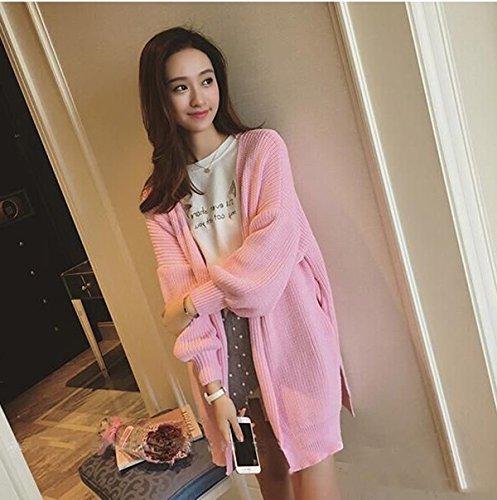 &zhou Primavera e autunno usura. lanterna manica lunga sciolti maglioni. cappotto. cappotto. maglia maglione Cardigan donna inverno , pink