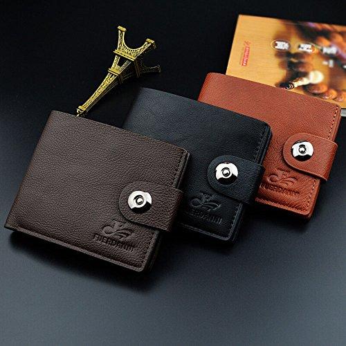iVotre Männer Brieftasche Mit Magnet - Schließung, Bifold Design, Ultra - Slim, Glasig Bild Inhaber, Mode Und Lässig, Kurze Stil Handtasche Mit Lichee - Muster - Kaffee black