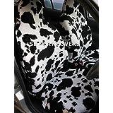Para adaptarse a un Nissan Terrano 2, fundas para asiento, piel sintética de vaca en blanco y negro, juego completo