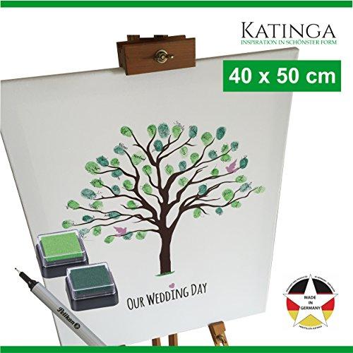 Leinwand zur Hochzeit -Motiv BAUM - als Gästebuch für Fingerabdrücke (40x50cm, inkl. Stift +...