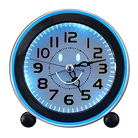 Pingenaneer Réveil Quartz Analogique Silencieux et Lumineux Alarme Horloge de Chevet pour Enfants, Réveil Snooze, Alimenté par Batterie - Rose