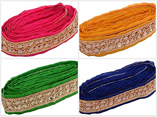 MR Fashion Zari-Kundan Laces For Dress/Sarees/Blouses,Suits,Caps/Bags/Decorations Multipurpose In 4 Different Colors Combo, Pack Of 9 Meters  available at amazon for Rs.399