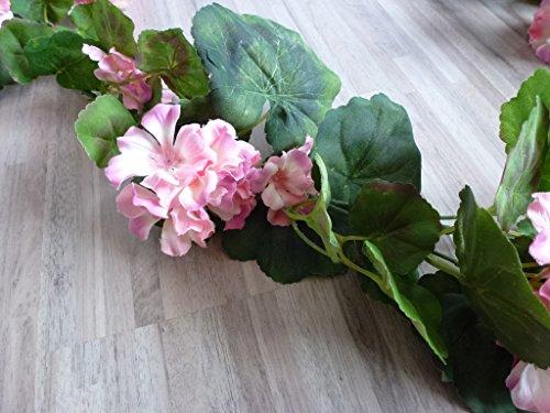 Gasper Geraniengirlande, 180cm, 20 Blüten,108 Blätter, hellrosa 185 cm 331003-11 F19