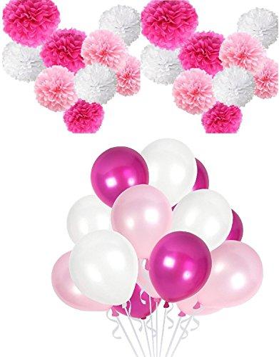 IRPOT 50 Luftballons + 9 Flusen 3 Farben Party Thema (Pink - Fuchsia - White Minnie Theme)