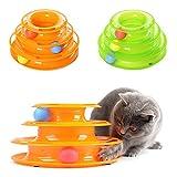 Symboat Funny Cat para mascotas Kitty Crazy Track Ball Trilaminar Disco Interactive Toy Plato de diversión (Green)