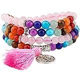 Shanxing 108 Perlen Edelstein Yoga Armband Schmuck Buddha Buddhistische Tibetische Gebetskette Mala Kette Halskette,7 Chakra & Rosen Quarz