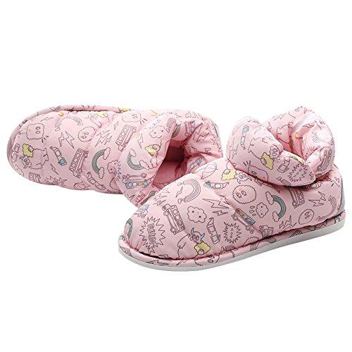 Fankou pantofole di cotone spessa femmina inverno Cartoon carino personalità indoor Meng Meng piedini con tacco Rosa Rot