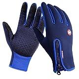 SWAMPLAND Anti-Rutsch Full Finger Fahrradhandschuhe Winddicht Wasserabweisend Touchscreen Handschuhe für Damen und Herren,Blau XL