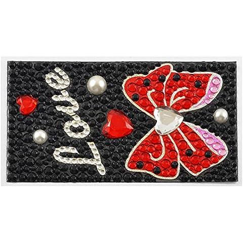 MP5 MP4 Negro Rojo granos plásticos de la pajarita de la perla de imitación de la etiqueta engomada del sello de la joyería 90mmx50mm
