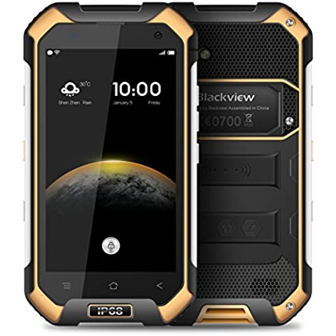 Blackview BV6000 4.7 Pollici 1280*720 Pixel Android 6.0 Smartphone IP68 Impermeabile MT6755 Octa-core 2.0GHz 3GB di RAM 32GB ROM 2G / 3G / 4G FDD-LTE All'aperto Cellulare (Giallo) - B / N Luce Di Emergenza