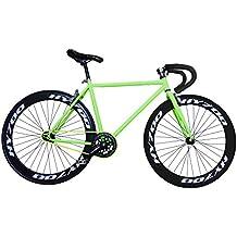 """Fixie Helliot Brooklyn H36 - Bicicleta fixie, cuadro de acero, frenos V-Brake, horquilla acero y ruedas de 26"""", color verde"""
