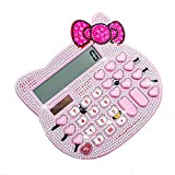 Peggy Gu Cute Plus Rhinestone Cartoon Cat Head Solar Calculadora Ambiental Calculadora electrónica de función estándar (Color : Rosado)