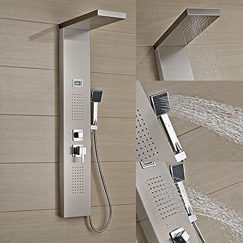 Auralum® Elegant Panneau de Douche Stainless d'Acier Affichage LCD Température de l'Eau avec Douche à Main (Chromé)