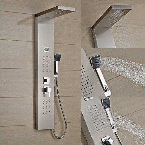 Auralum - Edelstahl Duschpaneel-Set mit Massagejets, Wasserfall und LCD-Display