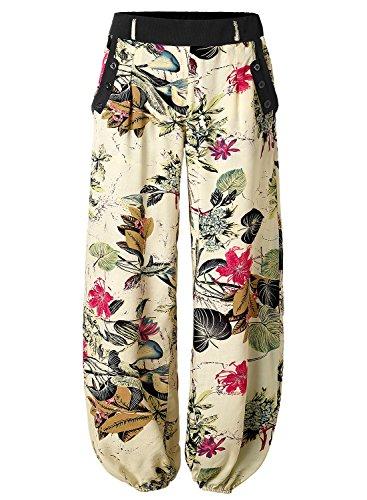 BAISHENGGT - Femme Pantalon bouffant Elastique Extensible palazzo Casual Sarouels Poche SANS CEINTURE Abricot Large