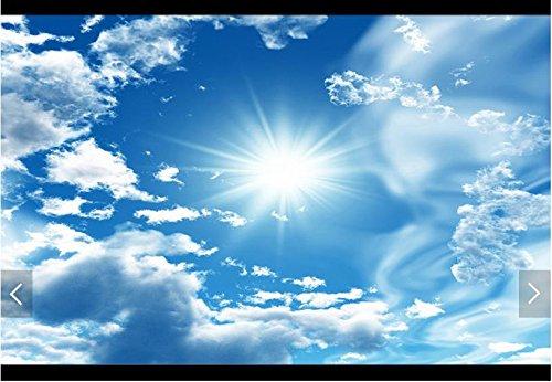 Weaeo 3D Fototapete Custom 3D-Decke Tapeten Wandmalereien Blauer Himmel Weisse Wolken Die Sonne Wandbild 3D Wohnzimmer Wallpaper-350 X 250 Cm. (Himmel Auf Boden)