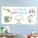 Whiteboard Sticker Self Adhesive Whiteboard Paper Wall Sticker Whiteboard Roll Large 44.5x200cm|White|with 1 Free Marker Pen|for School Home Office|Only for Water-based Marker Pen-Rabbitgoo